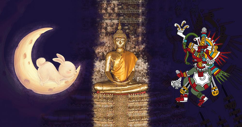 Mondhase, Buddha und Quetzalcoatl